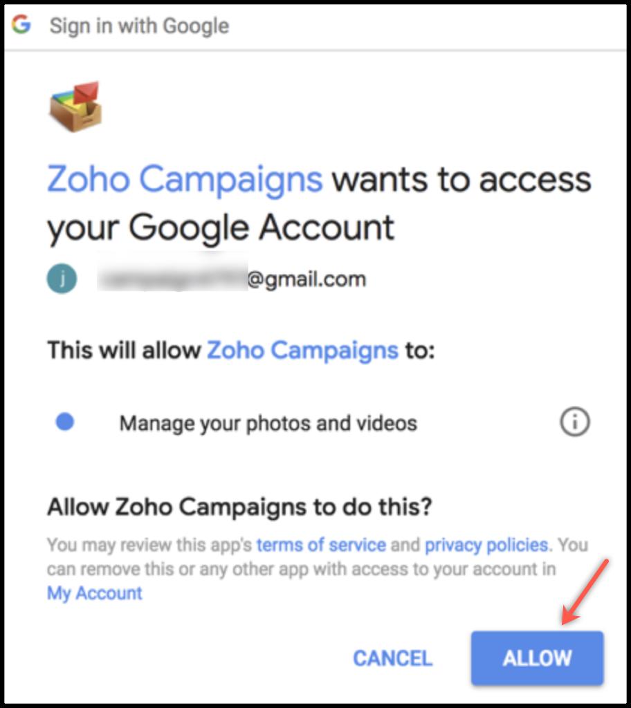Google authorization popup