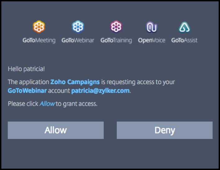 GoToWebianr authorization popup